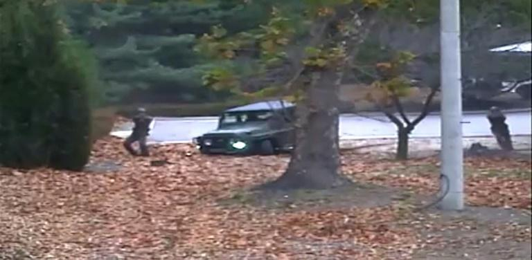 The surveillance footage showed North Korean soldiers shooting at the defector at the Demilitarized Zone (DMZ)