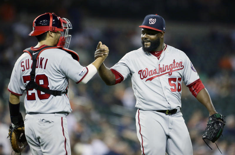 Nationals reliever Fernando Rodney ties an MLB record by notching a save with his ninth different team. (AP Photo/Duane Burleson)