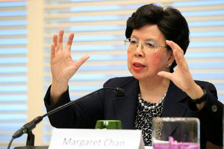 World Health Organization(WHO) Director-General Margaret Chan speaks during a news conference on Neglected Tropical Diseases (NTDs) in Geneva, Switzerland, April 18, 2017. REUTERS/Pierre Albouy