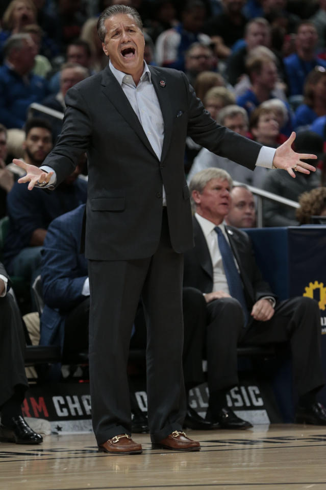 Kentucky coach John Calipari reacts to a call during the first half of the team's NCAA college basketball game against Duke at the Champions Classic in Indianapolis on Tuesday, Nov. 6, 2018. Duke won 118-84. (AP Photo/AJ Mast)