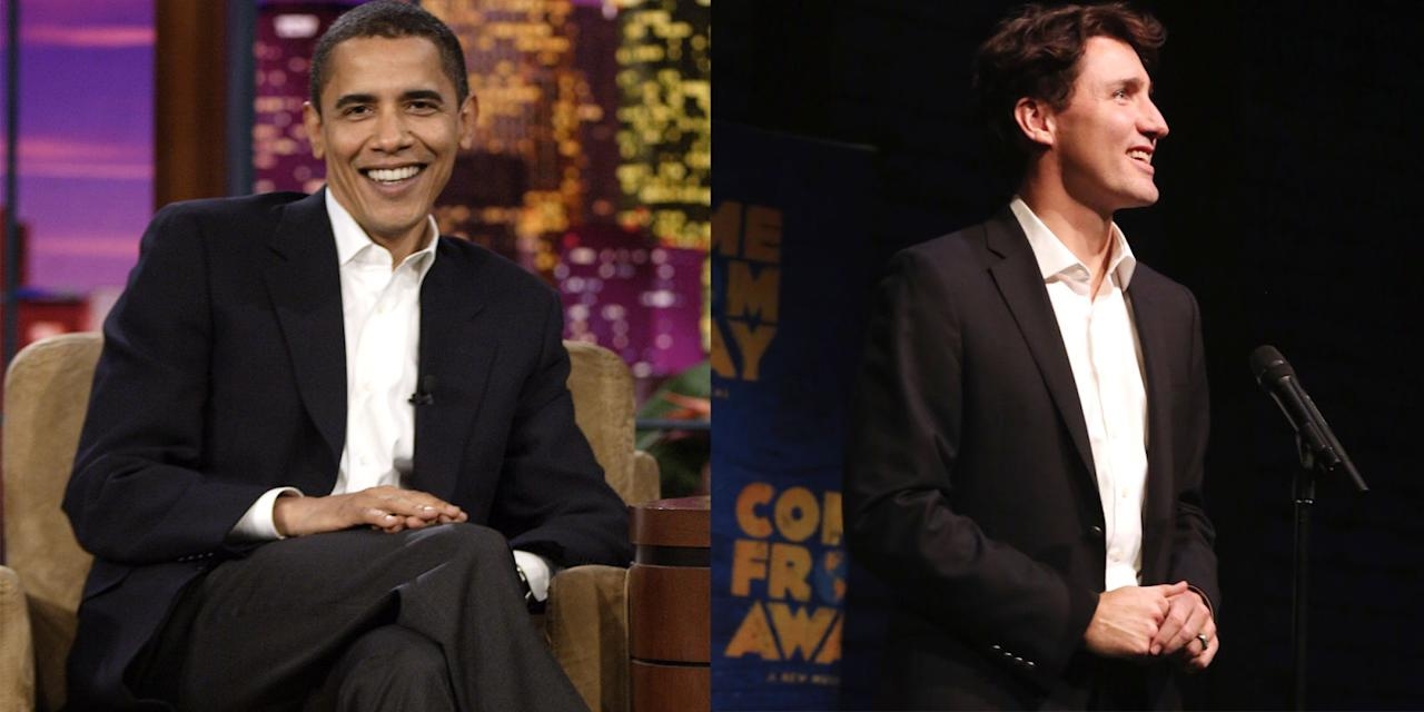 """<p>Obama on The Tonight Show with Jay Leno<span>;</span>Trudeau makinga welcoming introduction before themusical """"Come from Away"""" at The Schoenfeld Theatre in New York City<span></span></p>"""