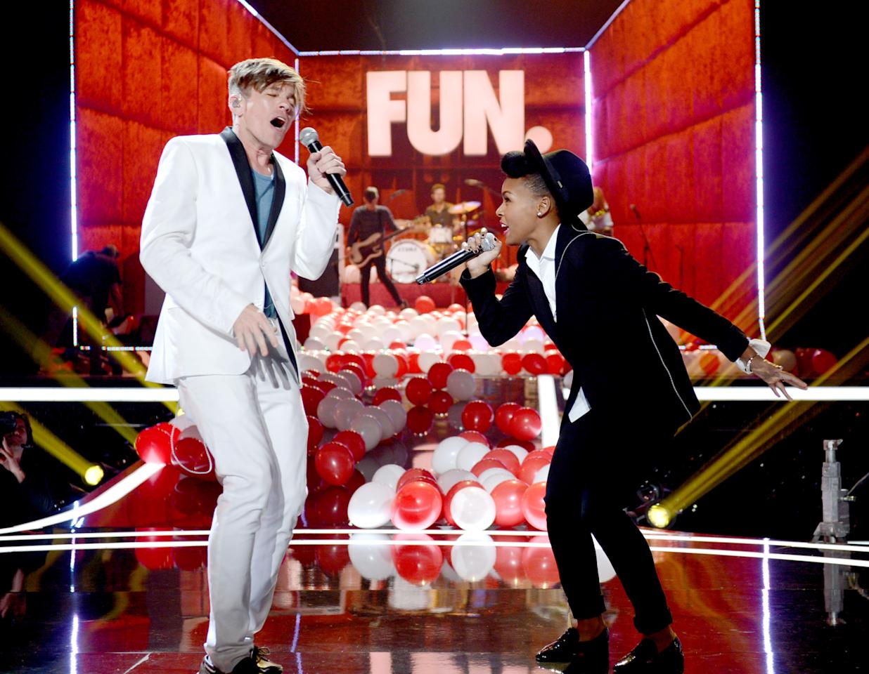 UNIVERSAL CITY, CA - JUNE 01:  Singer Nate Ruess of Fun (L) and singer Janelle Monae perform at rehearsals for the 2012 MTV Movie Awards on June 1, 2012 in Universal City, California.  (Photo by Kevin Winter/Getty Images)