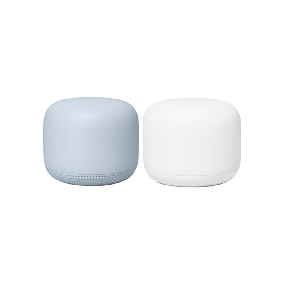 """Infinitely cooler than the Alexa, score the new homeowner a Google Router and Point set. Each little dome boosts their wifi signal, which should be especially useful for the perpetually WFH. $268, B&H Photo Video. <a href=""""https://www.bhphotovideo.com/c/product/1510953-REG/google_ga01426_us_google_nest_wifi_s1.html"""" rel=""""nofollow noopener"""" target=""""_blank"""" data-ylk=""""slk:Get it now!"""" class=""""link rapid-noclick-resp"""">Get it now!</a>"""