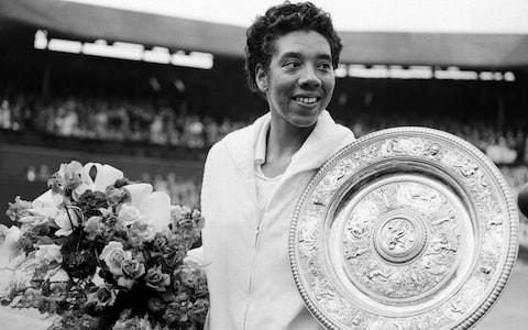 <span>Althea Gibson, seen here after her 1958 triumph, was thought to be the first black player to have competed at Wimbledon</span> <span>Credit: PA </span>