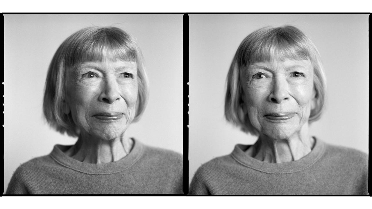 Joan Didion (author) photographed by Brigitte Lacombe. Featured in <em>Forward: Twenty Years of TimesTalks</em>, a new book of Lacombe's black-and-white portraits for the <em>New York Times</em>, 2017-2019.