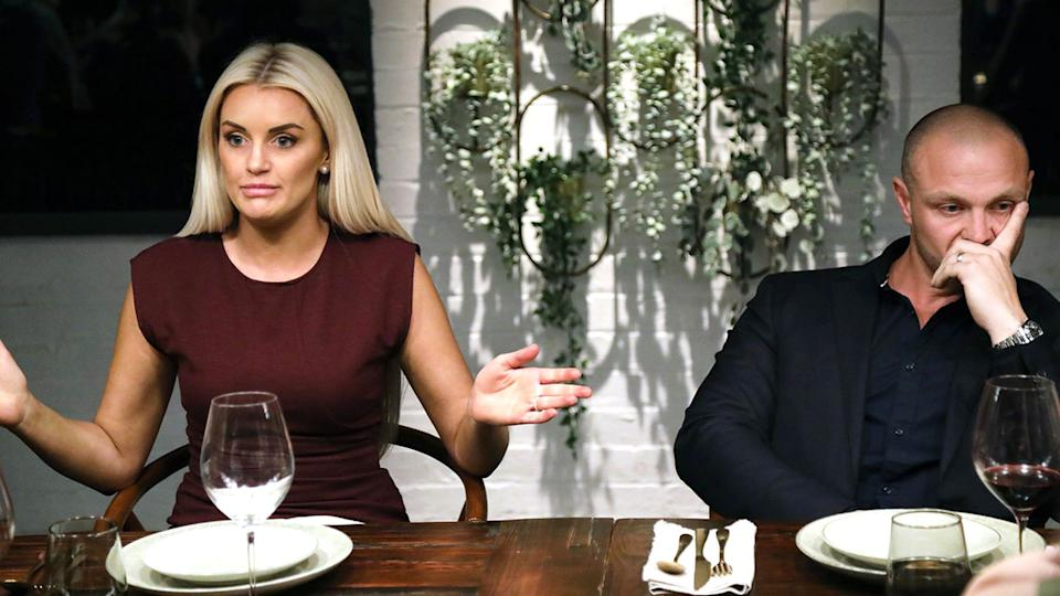 Samantha and Cameron at the MAFS dinner party table