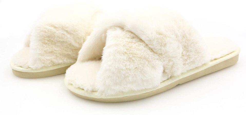 Topgalaxy.Z Women's Cross Band Soft Plush Fuzzy House/Indoor Slippers