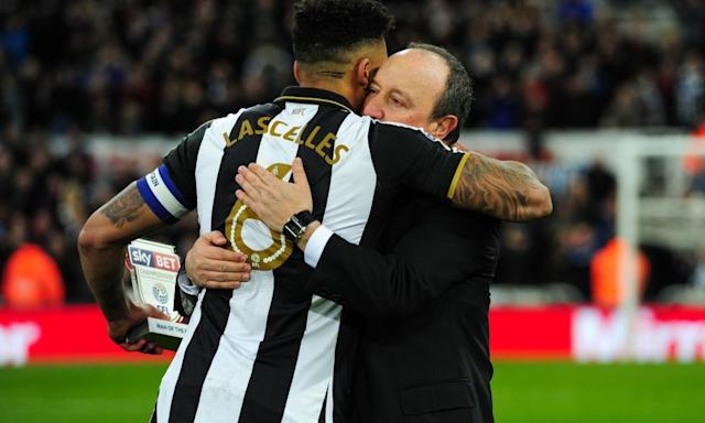 "<span class=""element-image__caption"">Rafael Benítez hugs Jamaal Lascelles after Newcastle United defeated Preston North End 4-1 to secure promotion to the Premier League.</span> <span class=""element-image__credit"">Photograph: Serena Taylor/Newcastle Utd via Getty Images</span>"