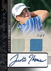 Justin Thomas' trading card, part of Upper Deck's 2021 release