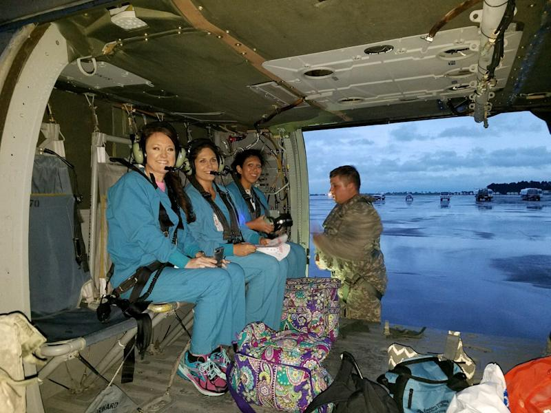 Beaumont's St. Elizabeth Hospital flew additional nurses in on a helicopter Wednesday night. (Christus Southeast Texas Health System)