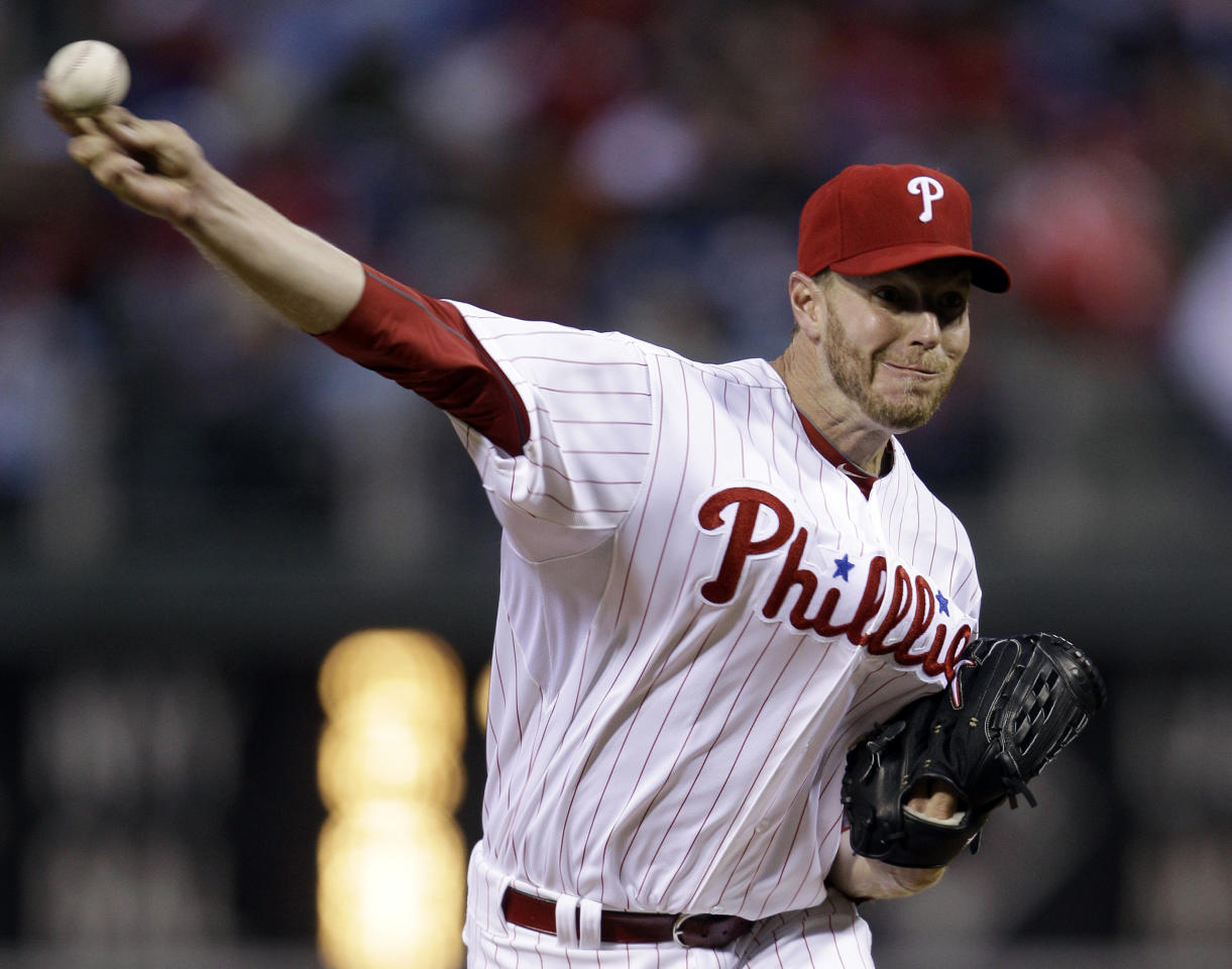 Philadelphia Phillies' Roy Halladay pitches in the second inning of a baseball game against the Miami Marlins, Wednesday, April 11, 2012, in Philadelphia. (AP Photo/Matt Slocum)