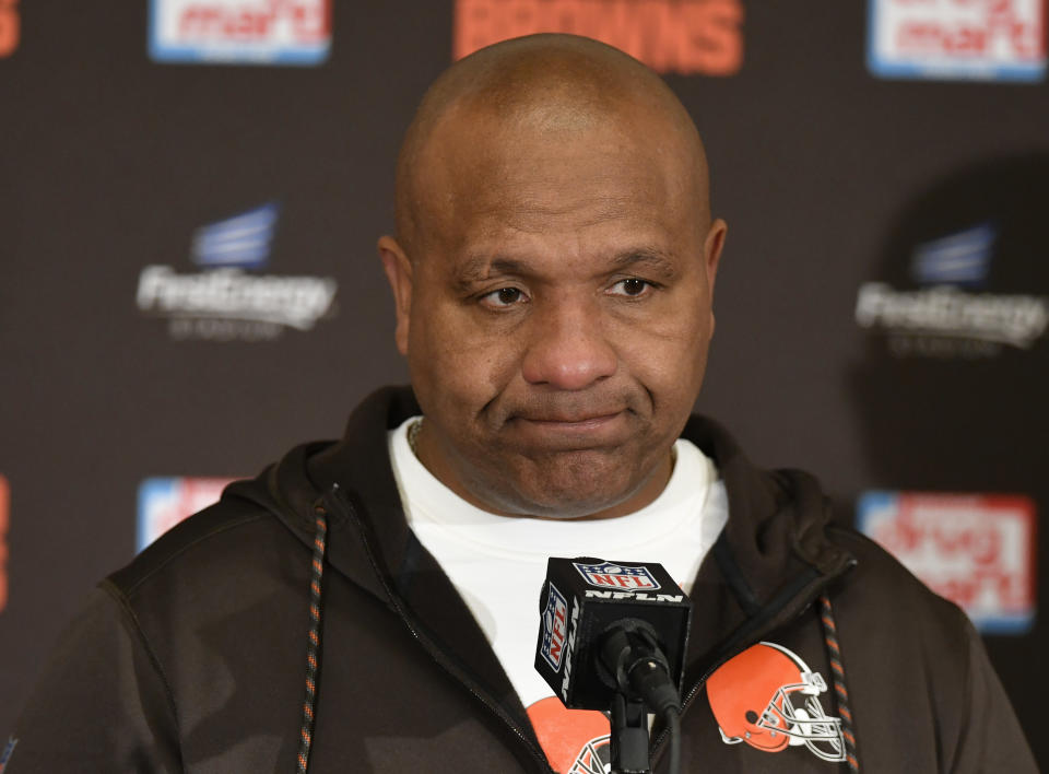 File-This Dec. 10, 2017, file photo shows Cleveland Browns head coach Hue Jackson answering questions during a news conference after in an NFL football game, in Cleveland.  Jackson is confident owner Jimmy Haslam will stick to his plan and bring him back next season. Jackson, who is 0-13 this season and 1-28 in two years with Cleveland, laughed on Monday, Dec. 11, 2017, when asked about a report that new general manager John Dorsey wants to hire his own coach. Dorsey was named the club's new GM last week by Haslam, who fired vice president of football operations Sashi Brown.(AP Photo/David Richard, File)