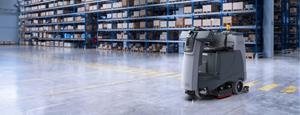 The robotic floor scrubber is designed to maximize cleaning efficiency in large indoor spaces like hypermarkets, warehousing, logistics and light-industry environments
