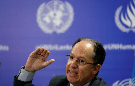Pablo de Greiff, U.N. special rapporteur on the promotion of truth, justice, reparation, and guarantees of non-recurrence, speaks during a news conference in Colombo