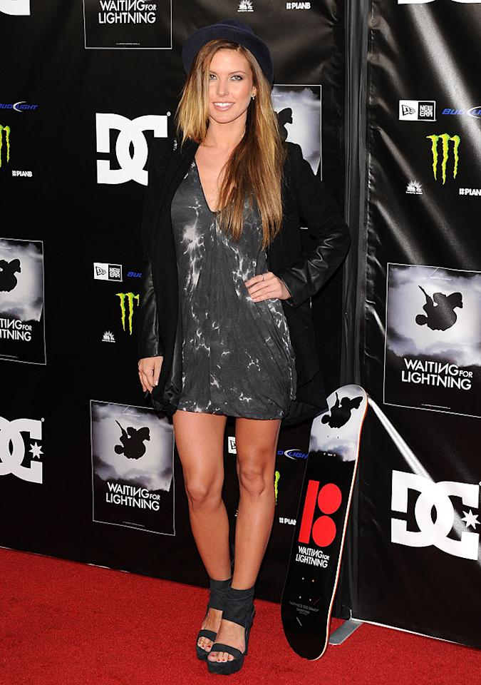 """And last but not least we have """"Hills"""" alum Audrina Patridge, who dusted off her Debbie Gibson hat and tie-dyed dress for an appearance on the red carpet at the premiere of """"Waiting for Lightning."""" (4/10/2012)<br><br><a target=""""_blank"""" href=""""http://bit.ly/lifeontheMlist"""">Follow What Were They Thinking?! creator, Matt Whitfield, on Twitter!</a>"""