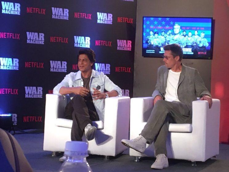 Bollywood actor Shah Rukh Khan met Hollywood actor Brad Pitt in Mumbai, India, as part of promotions for upcoming Netflix show War Machine. (Photo: The Quint)