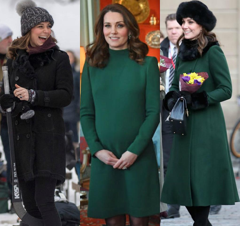 <p><strong>When: Jan. 30, 2018</strong><br />Pregnant Kate Middleton braved the cold temperatures of Stockholm, Sweden, on Tuesday morning as part of a four-day visit with her husband Prince William — and the Duchess stunned in three different looks! <em>(Photos: Getty)</em> </p>