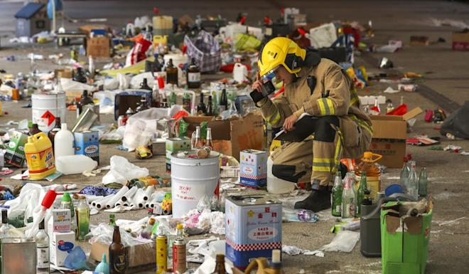 Hazardous items, including unused petrol bombs and chemical substances, had to be removed from the campus before parts of it could reopen. Photo: Sam Tsang