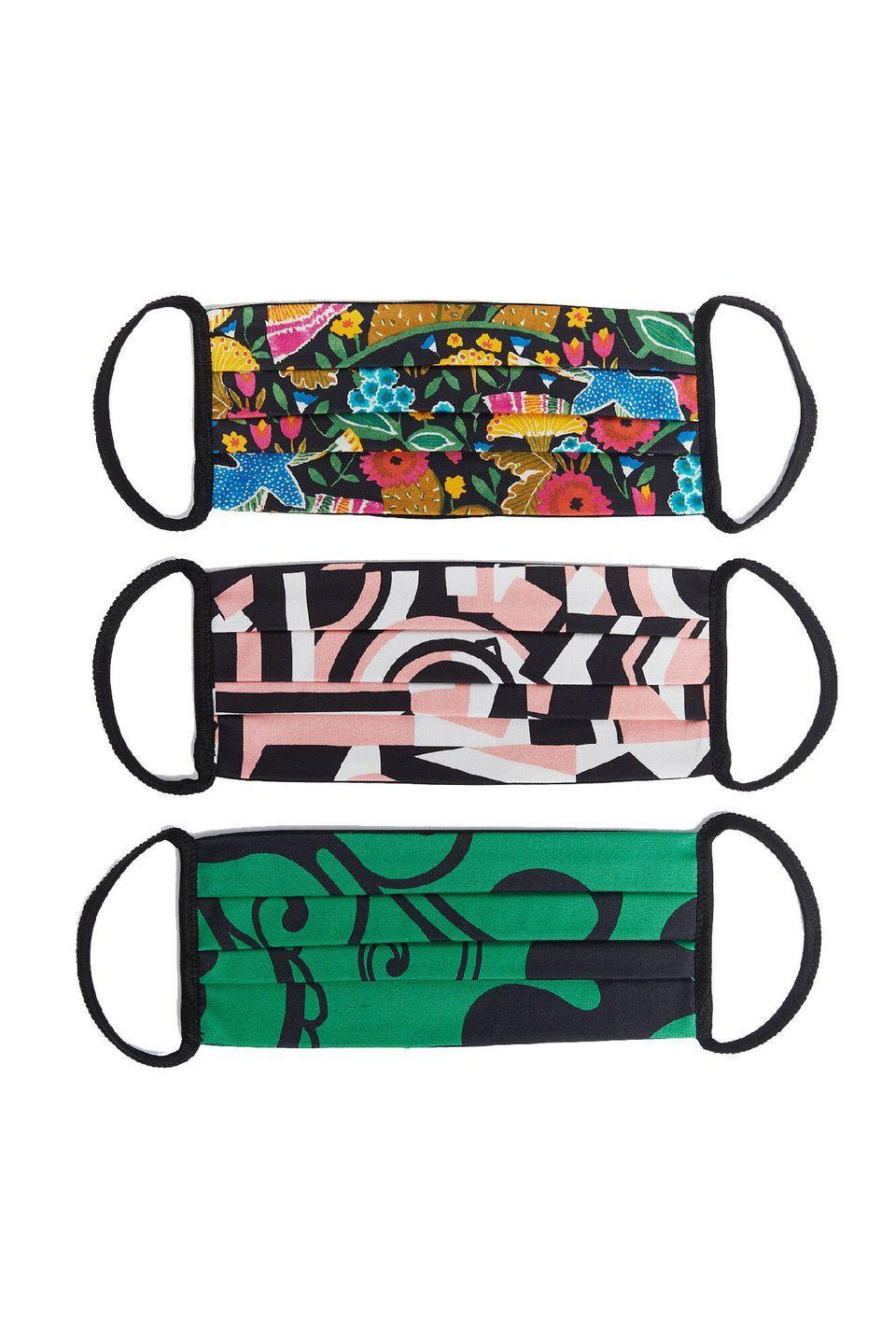 """<p><a class=""""link rapid-noclick-resp"""" href=""""https://www.ladoublej.com/default/ldj-editions/accessories/mask-set-of-three-multicolor-MAS0001COT006LDJ0002.html"""" rel=""""nofollow noopener"""" target=""""_blank"""" data-ylk=""""slk:SHOP NOW"""">SHOP NOW </a></p><p>Italian label La DoubleJ embraces mood-boosting print and colour with its pack of three masks, created with stretch-cotton.</p><p>£25 for three, <a href=""""https://www.ladoublej.com/default/ldj-editions/accessories/mask-set-of-three-multicolor-MAS0001COT006LDJ0002.html"""" rel=""""nofollow noopener"""" target=""""_blank"""" data-ylk=""""slk:La DoubleJ"""" class=""""link rapid-noclick-resp"""">La DoubleJ</a></p>"""