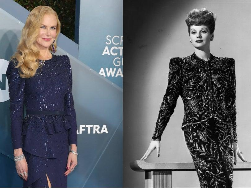 Nicole Kidman (left) portrays Lucille Ball (right) in an upcoming film (Left: Leon Bennett/Getty Images – Right: Keystone/Getty Images)