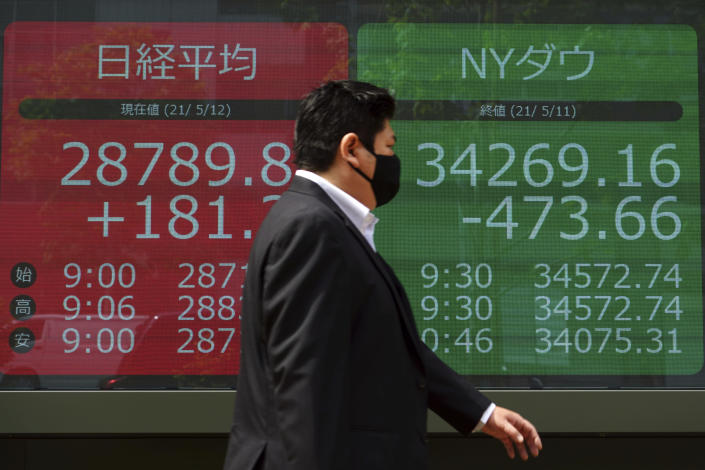 A man wearing a protective mask walks past an electronic stock board showing Japan's Nikkei 225 and New York Dow indexes at a securities firm Wednesday, May 12, 2021, in Tokyo. Asian stock markets retreated Wednesday as investors looked ahead to U.S. data they worry will show inflation is picking up.(AP Photo/Eugene Hoshiko)