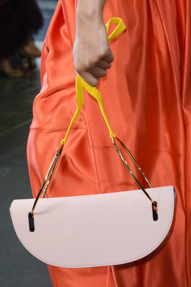 <p><i>Half-moon-shaped handbag from the SS18 Roksanda collection. (Photo: ImaxTree) </i></p>