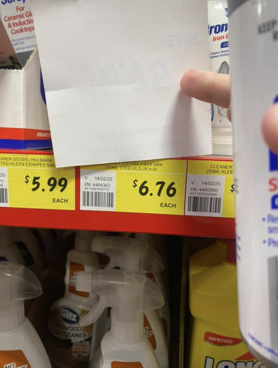 The label beneath had a higher price, pictured here.