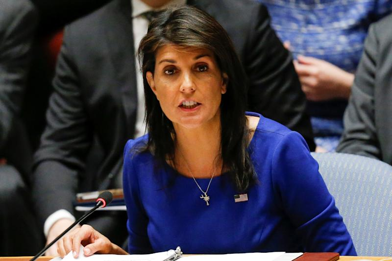 United States Ambassador to the United Nations Haley speaks during the emergency United Nations Security Council meeting on Syria at the U.N. headquarters in New York