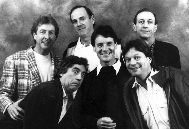 Stage and Screen, Entertainment, Personalities, pic: 1989, The stars of the cult comedy TV, programme of the 1970's 'Monty Python's Flying Circus' back row, left-right, Eric Idle, John Cleese, Graham Chapman, Front 3, left-right, Terry Jones, Michael Palin, Terry Gilliam (Photo by Popperfoto/Getty Images)
