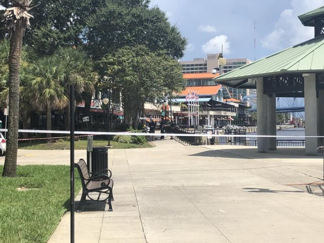 <p>View outside the scene of a shooting in Jacksonville Landing, Jacksonville, Fla., on Aug. 26, 2018. (Photo: Brittney Donovan/Action News Jax) </p>