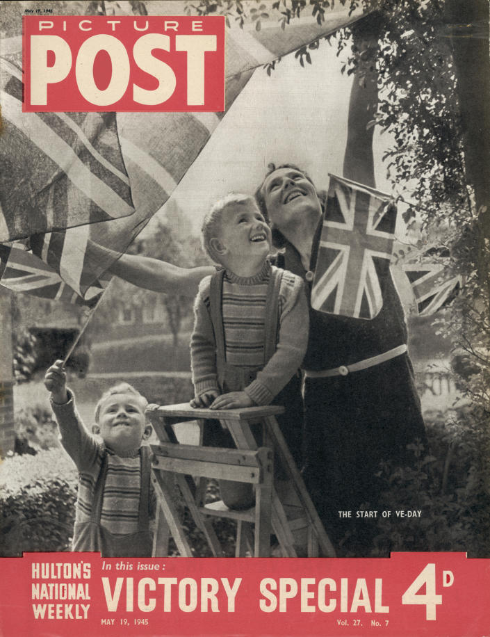 The cover of a Victory Special issue of Picture Post magazine depicting a mother and her two sons celebrating VE Day in Britain, at the end of World War II, 8th May 1945 (published 19th May 1945). (Photo by Picture Post/Hulton Archive/Getty Images)