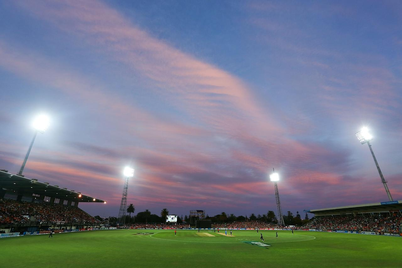 NAPIER, NEW ZEALAND - JANUARY 19:  A general view of McLean Park during the first One Day International match between New Zealand and India at McLean Park on January 19, 2014 in Napier, New Zealand.  (Photo by Hagen Hopkins/Getty Images)