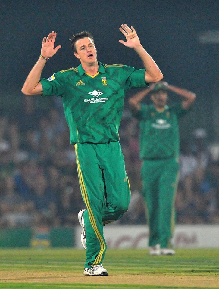 EAST LONDON, SOUTH AFRICA - DECEMBER 23:  Morne Morkel of South Africa throws his hands in the air during the 2nd T20 match between South Africa and New Zealand at Buffalo Park on December 23, 2012 in East London, South Africa.  (Photo by Duif du Toit/Gallo Images/Getty Images)
