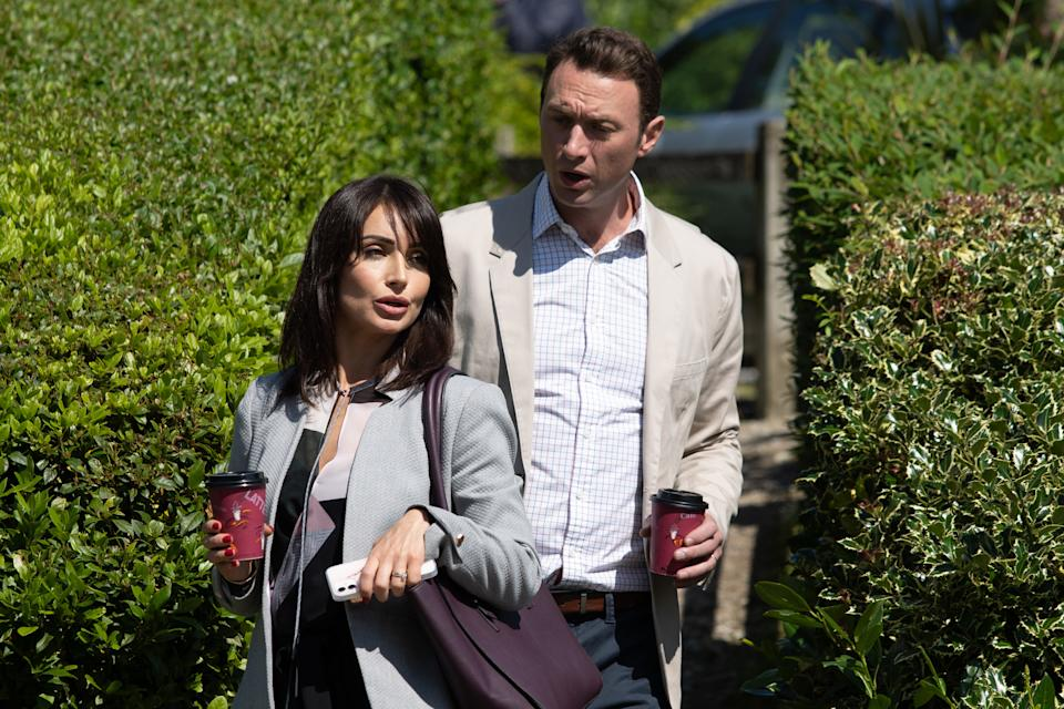 FROM ITV  STRICT EMBARGO Print media - No Use Before Tuesday Tuesday 21st September 2021 Online Media - No Use Before 0700hrs  Tuesday 21st September  2021  Emmerdale - 9163  Monday 27th September 2021  Leyla Cavanagh [ROXY SHIHIDI] can't help noticing Liam Cavanagh's [JONNY McPHERSON] been behaving oddly since he started at Hotten General.   Picture contact David.crook@itv.com   Photographer - Mark Bruce  This photograph is (C) ITV Plc and can only be reproduced for editorial purposes directly in connection with the programme or event mentioned above, or ITV plc. Once made available by ITV plc Picture Desk, this photograph can be reproduced once only up until the transmission [TX] date and no reproduction fee will be charged. Any subsequent usage may incur a fee. This photograph must not be manipulated [excluding basic cropping] in a manner which alters the visual appearance of the person photographed deemed detrimental or inappropriate by ITV plc Picture Desk. This photograph must not be syndicated to any other company, publication or website, or permanently archived, without the express written permission of ITV Picture Desk. Full Terms and conditions are available on  www.itv.com/presscentre/itvpictures/terms