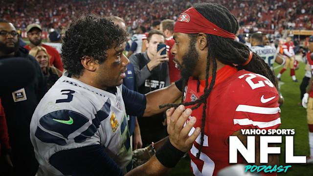 """The Monday night duel between the <a class=""""link rapid-noclick-resp"""" href=""""/nfl/teams/seattle/"""" data-ylk=""""slk:Seattle Seahawks"""">Seattle Seahawks</a> and San Francisco 49ers was the standout game of the season after 11 weeks. (Photo by Lachlan Cunningham/Getty Images)"""