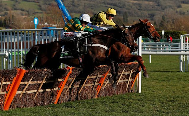 Horse Racing - Cheltenham Festival - Cheltenham Racecourse, Cheltenham, Britain - March 13, 2018 Buveur D'Air ridden by Barry Geraghty (L) before winning the 15:30 Unibet Champion Hurdle Challenge Trophy Action Images via Reuters/Andrew Boyers
