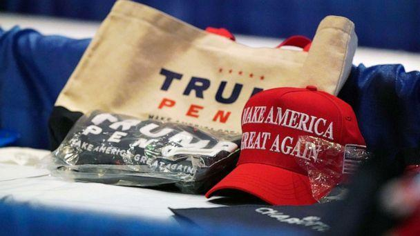PHOTO: Some of the items from the delegate gift bag are shown during for the first day of the Republican National Convention, Aug. 24, 2020, in Charlotte. (Chris Carlson/AP)