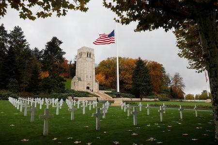 The American flag flies at the Aisne Marne American Cemetery dedicated to the U.S. soldiers killed in the Belleau Wood battle during World War One at Belleau France