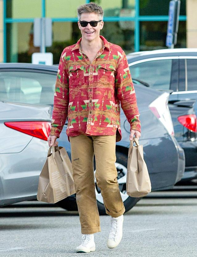 <p>Chris Pine leaves the Gelson's market in Studio City, California, on Thursday.</p>