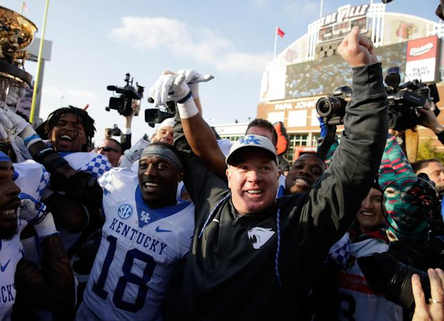 In November, Kentucky beat Louisville for the first time under Mark Stoops. (Photo by Andy Lyons/Getty Images)