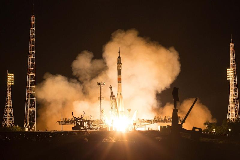 The Soyuz MS-13 rocket launch coincided with the anniversary of the Apollo 11 moon landing (AFP/Getty Images)