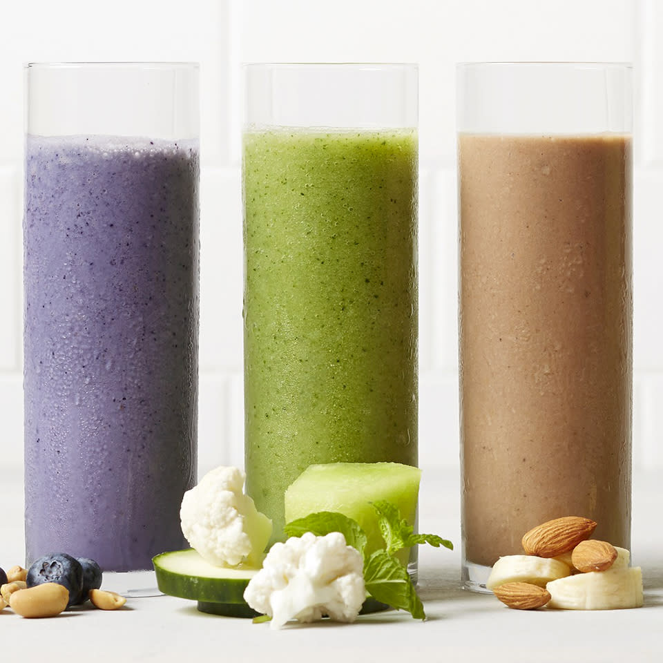 """<p>Minty and refreshing, these melon smoothies will keep you hydrated on hot summer days. <a href=""""http://www.eatingwell.com/recipe/262903/cucumber-mint-melon-smoothies/"""" rel=""""nofollow noopener"""" target=""""_blank"""" data-ylk=""""slk:View recipe"""" class=""""link rapid-noclick-resp""""> View recipe </a></p>"""