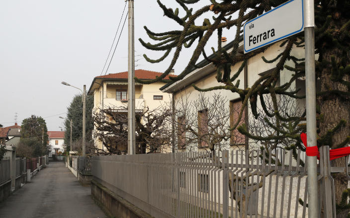 A view of the house of the Attanasio family in Limbiate, Italy, Monday, Feb. 22, 2021. The Italian ambassador to Congo, an Italian carabinieri police officer and their Congolese driver were killed Monday in an attack on a U.N. convoy in an area that is home to myriad rebel groups, the Foreign Ministry and local people said. Luca Attanasio, Italy's ambassador to the country since 2017, carabinieri officer Vittorio Iacovacci and their driver were killed. Other members of the convoy were injured, WFP said. (AP Photo/Antonio Calanni)