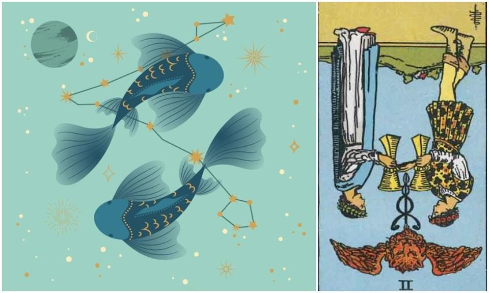 <em>Pisces star sign, at left and Two of Cups card in reverse, at right. Photos: Mixkit, Wikimedia Commons</em>