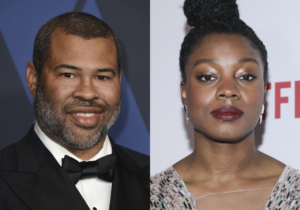 """Jordan Peele appears at the Governors Awards in Los Angeles on Oct. 27, 2019, left, and Nia DaCosta appears at the 11th Annual AAFCA Awards in Los Angeles on Jan. 22, 2020. Peele, co-wrote the script """"Candyman"""" with DaCosta, who also directs. (AP Photo)"""