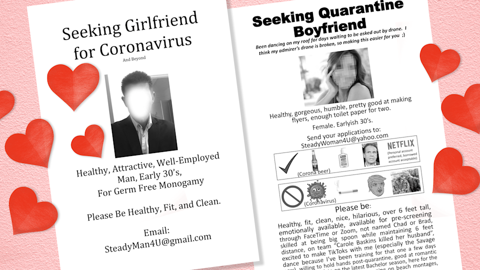 "Two New York City singles posted flyers in Central Park looking for quarantine mates. ""If somehow I found that special someone this way, that's just an added bonus.  It would also be an epic 'how we met' story,"" says one woman. (Design: Nathalie Cruz for Yahoo Lifestyle)"