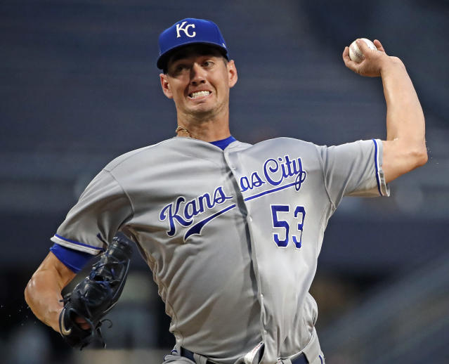 FILE - In this Tuesday, Sept. 18, 2018 file photo, Kansas City Royals starting pitcher Eric Skoglund delivers during the first inning of a baseball game against the Pittsburgh Pirates in Pittsburgh. Kansas City Royals pitcher Eric Skoglund has been suspended for the season's first 80 games after testing positive for two performance-enhancing substances. The commissioner's office said Wednesday, Jan. 16, 2018 the positive tests were for selective androgen receptor modulators S-22 (Ostarine) and LGD-4033 (Ligandrol). (AP Photo/Gene J. Puskar, File)
