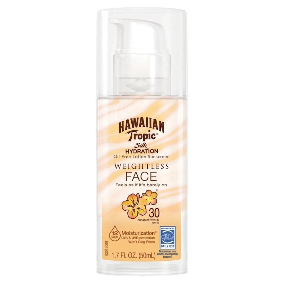 <p>This <span>Hawaiian Tropic Silk Hydration Weightless Lotion For Face SPF 30</span> ($9) smells like coconuts and is a joy to apply.</p>