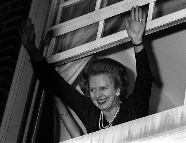 Prime Minister Margaret Thatcher waves to well-wishers following her win in the 1983 UK general election (PA)