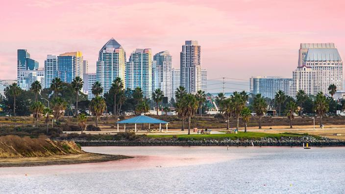 Mission Beach Sunset and View of Downtown, San Diego California, USA.